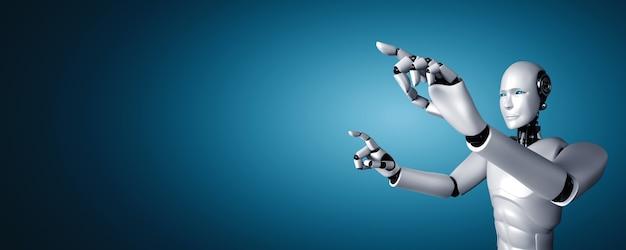 Ai humanoïde robot die vinger aanraakt op kopieerruimte