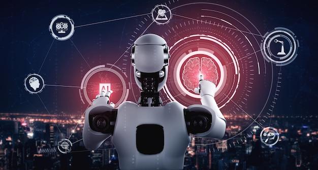Ai humanoïde robot die virtueel hologramscherm aanraakt met het concept van ai-hersenen