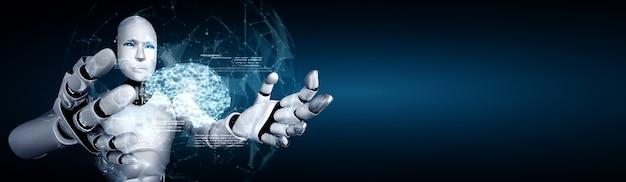 Ai humanoïde robot met virtueel hologramscherm met concept van ai-brein
