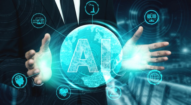 Ai leren en kunstmatige intelligentie concept.