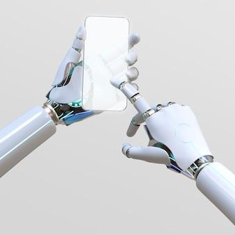 Ai met behulp van glazen telefoon, futuristisch digitaal apparaat