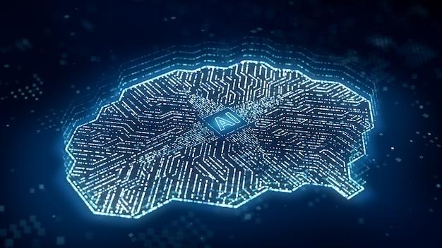 Ai-microprocessor brengt digitale gegevens over via hersencircuitcomputer, kunstmatige intelligentie binnen centrale processoreenheid of cpu, 3d-rendering futuristische deep learning-technologie 3d-illustratie