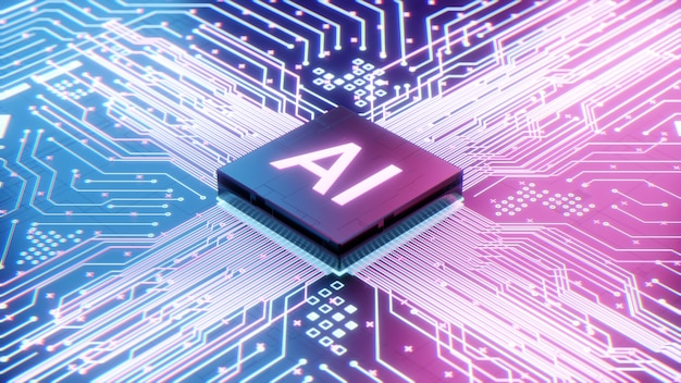 Ai microprocessor op moederbord computercircuit, kunstmatige intelligentie geïntegreerd in centrale processoreenheid of cpu-chip, 3d-rendering futuristische digitale data technologie concept achtergrond