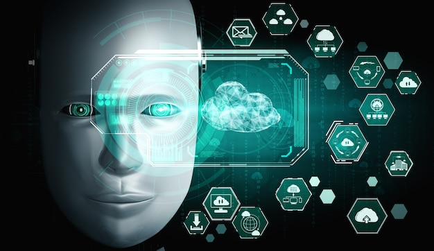 Ai-robot die cloud computing-technologie gebruikt om gegevens op een online server op te slaan Premium Foto