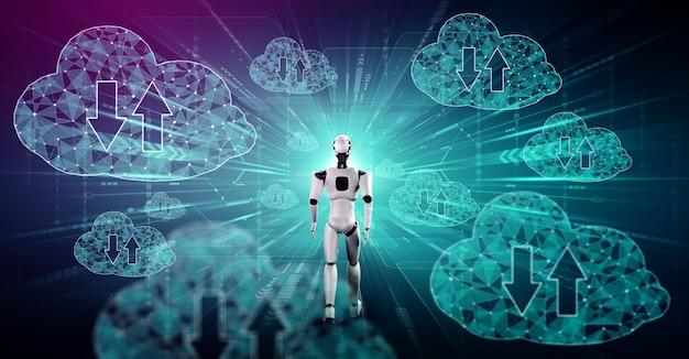 Ai-robot die cloud computing-technologie gebruikt om gegevens op een online server op te slaan