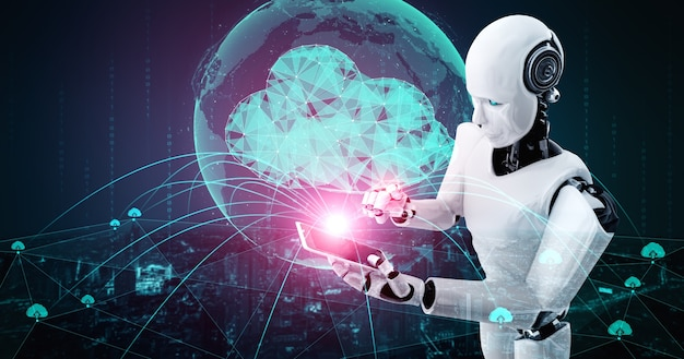 Ai-robot die cloud computing-technologie gebruikt om gegevens op een online server op te slaan.