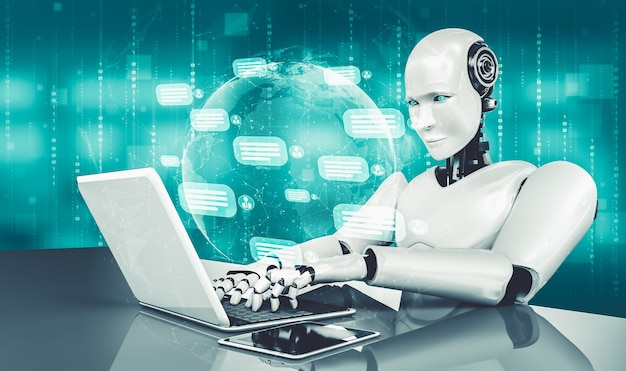 Ai-robot die computer gebruikt om met klant te chatten. concept van chat-bot
