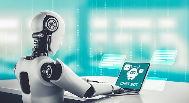 Ai-robot die computer gebruikt om met klant te chatten
