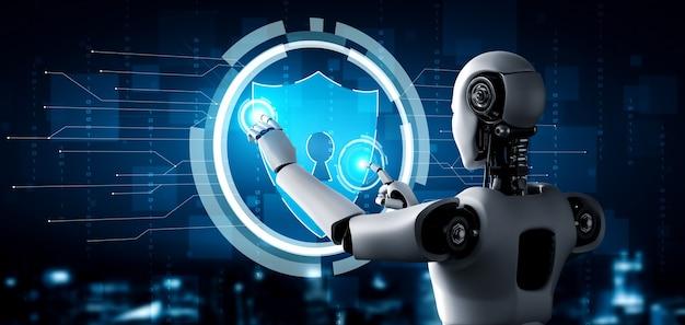 Ai-robot die cyberbeveiliging gebruikt om de privacy van informatie te beschermen