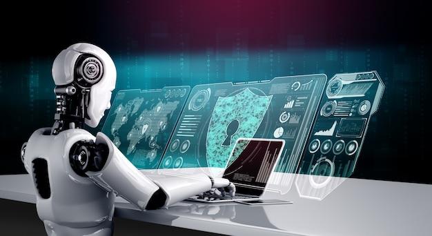 Ai-robot die cyberveiligheid gebruikt om de privacy van informatie te beschermen. futuristisch concept van cybercriminaliteitspreventie door kunstmatige intelligentie en machine learning. 3d-rendering illustratie.