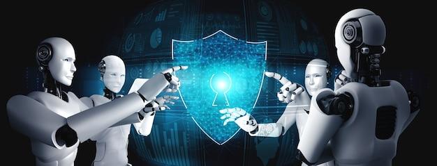 Ai-robot die cyberveiligheid gebruikt om de privacy van informatie te beschermen