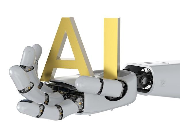Ai-technologieconcept met 3d-rendering humanoïde robot met ai-tekst