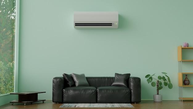 Airconditioner in een groene kamer 3d render