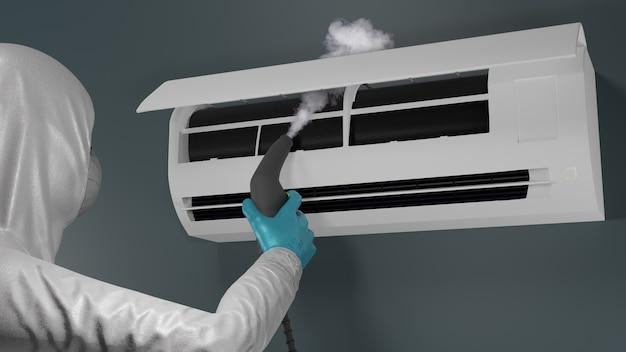 Airconditioner schoonmaken 3d render
