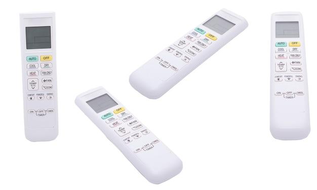 Airconditioning afstandsbediening op witte achtergrond geïsoleerd. thuis temperatuurregeling