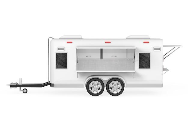 Airstream caravan food truck op een witte achtergrond. 3d-rendering
