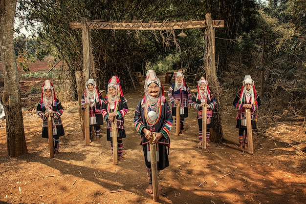 Akha stam dorpen, provincie chiang rai, noord-thailand.