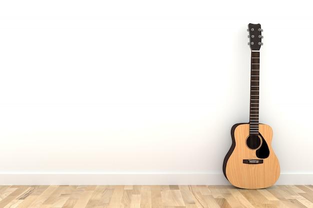 Akoestische gitaar in lege witte ruimte van het ruimte de houten parket in het 3d teruggeven