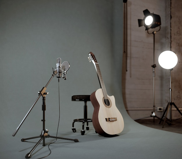 Akoestische gitaar in opnamestudio