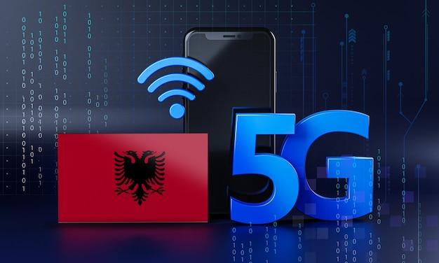 Albanië klaar voor 5g-verbindingsconcept. 3d-rendering smartphone technische achtergrond