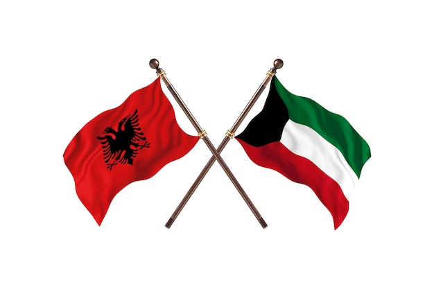 Albanië versus koeweit two flags