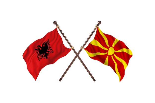 Albanië versus macedonië two flags