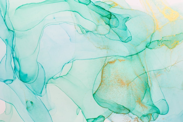 Alcoholinkt blauw en groen abstract