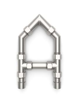 Alfabet gemaakt van metalen pijp, letter a 3d-rendering