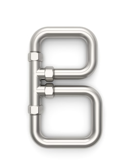 Alfabet gemaakt van metalen pijp, letter b 3d-rendering