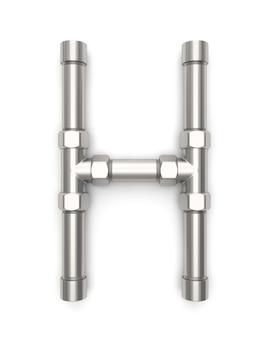 Alfabet gemaakt van metalen pijp, letter h 3d-rendering