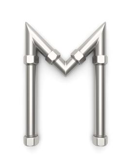 Alfabet gemaakt van metalen pijp, letter m 3d-rendering