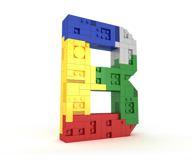 Alfabet kleurrijke blok baksteen type perspectief lettertype 3d-rendering op witte achtergrond