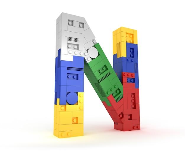 Alfabet kleurrijke blok baksteen type perspectief lettertype 3d-rendering op witte pagina