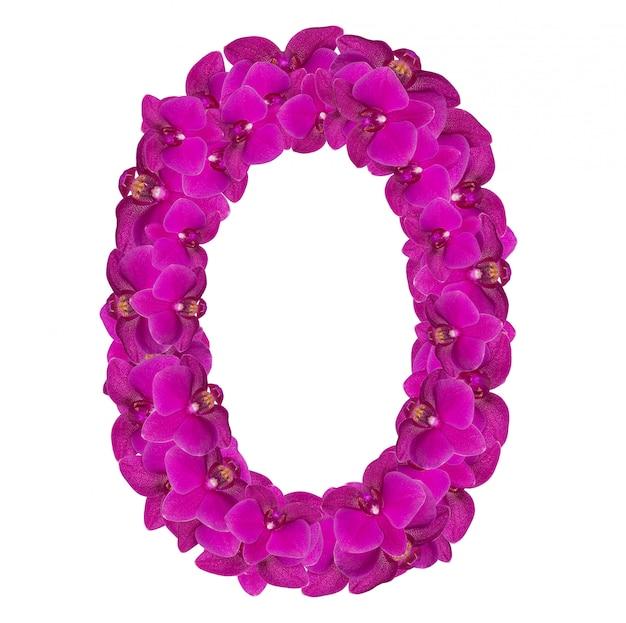 Alfabet nummer nul van orchideebloemen, geïsoleerd op wit