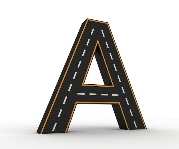 Alfabet symbolen van de figuren in de vorm van een weg met witte en gele lijnmarkeringen