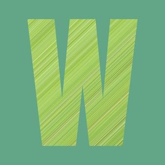 Alfabetletters van vorm w in groene patroonstijl op pastelgroene kleurachtergrond voor ontwerp in uw werk.