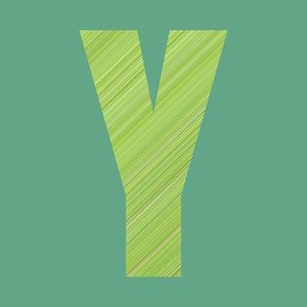 Alfabetletters van vorm y in groene patroonstijl op pastelgroene kleurachtergrond voor ontwerp in uw werk.