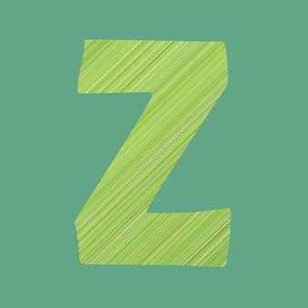 Alfabetletters van vorm z in groene patroonstijl op pastelgroene kleurachtergrond voor ontwerp in uw werk.