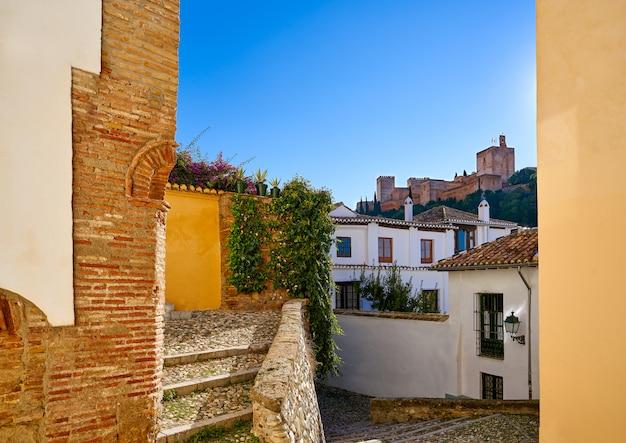 Alhambra uitzicht vanaf albaicin granada, spanje