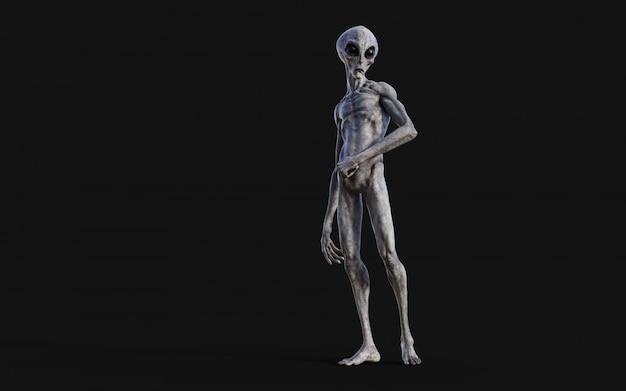 Alien op zwarte achtergrond met uitknippad.