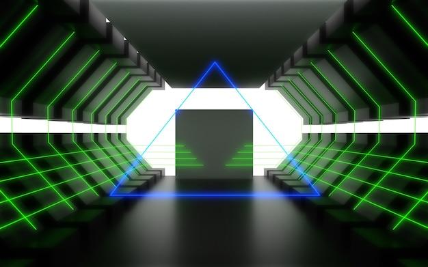 Alien ruimteschip corridor abstracte achtergrond. 3d illustratie