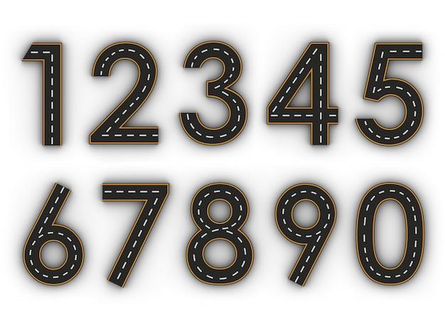 Alle cijfersymbolen van de figuren in de vorm van een weg