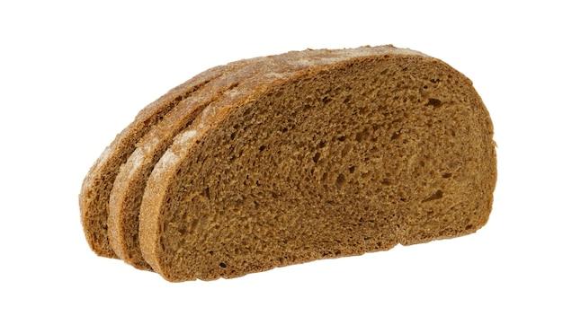 Alledaags brood geïsoleerd op een witte achtergrond. drie sneetjes brood