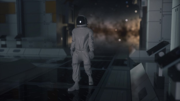 Alleen astronaut in futuristisch ruimteschip, kamer. 3d-rendering