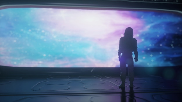 Alleen astronaut in futuristisch ruimteschip