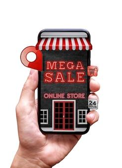 Alleen winkel in mobiele telefoon