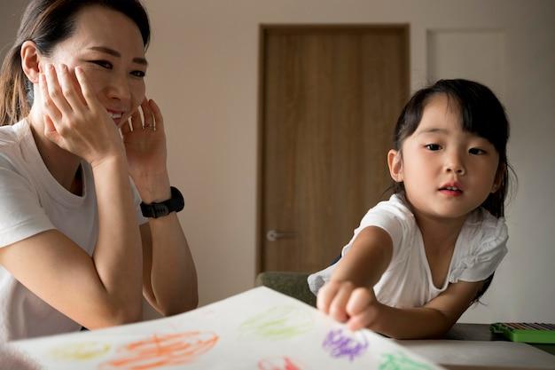 Alleenstaande moeder die tijd doorbrengt met haar dochter