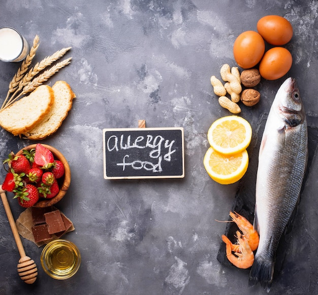 Allergie voedsel concept. geassorteerd van allergische producten