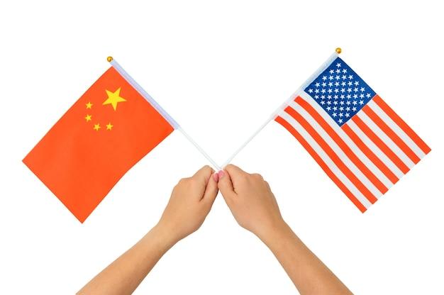 Alliantie en vriendschap tussen china en de vs, vlaggen geïsoleerd