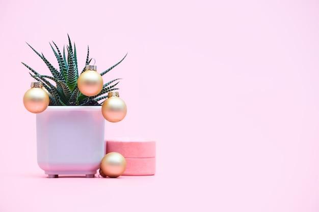 Aloë concept met kerstballen, copyspace